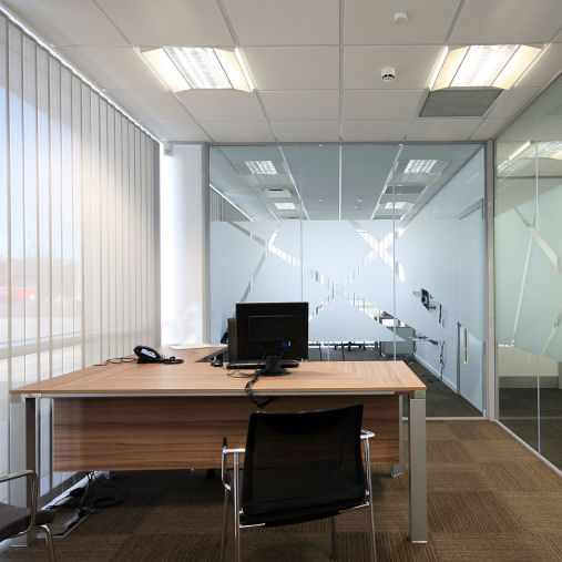 Canary Wharf Office Vertical Blinds Flame Retardant