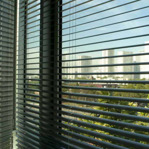 Gloss slat venetian blind for office windows