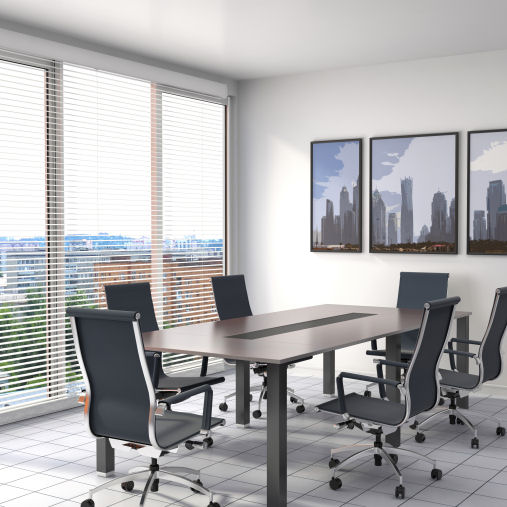 silver office venetian blinds in office meeting room